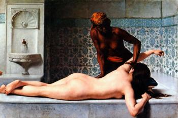 Edouard Bernard Debat-Ponsan : The Massage in the Harem